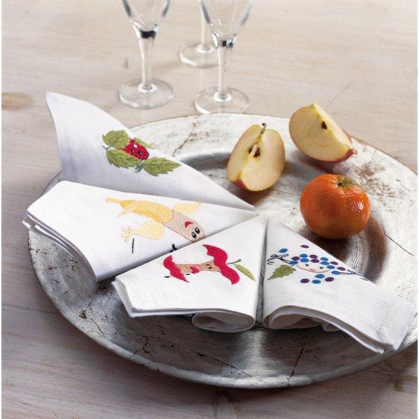 Fruit motifs  Napkin 25 x 25 cm set of four