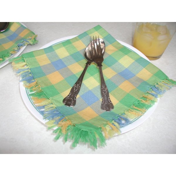 Green/Blue/Lemon Check Table Cloth 150x150cm