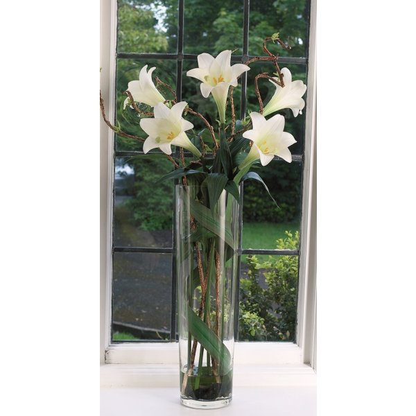 Longi Lily In Tall Tapered Glass Vase