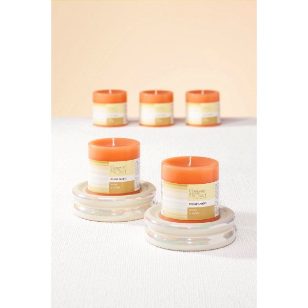 Orange Grove Pillar Candles Set of 2