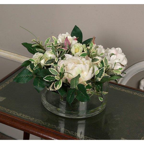 Peony Rose Ranuncula in Glass Bowl