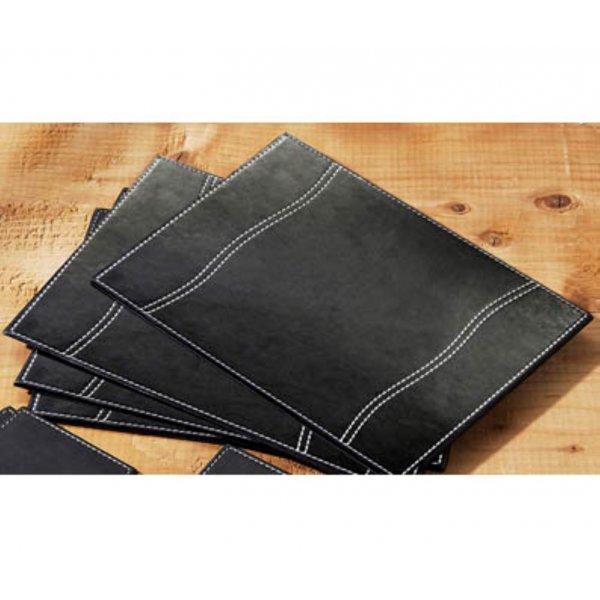 Set of 4 Black Faux Leather Place Mats